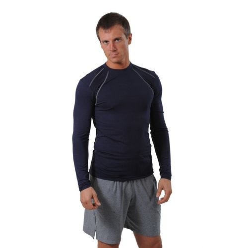 Mens tasc Performance Hybrid Fitted LS Crew Long Sleeve No Zip Technical Tops - Navy ...
