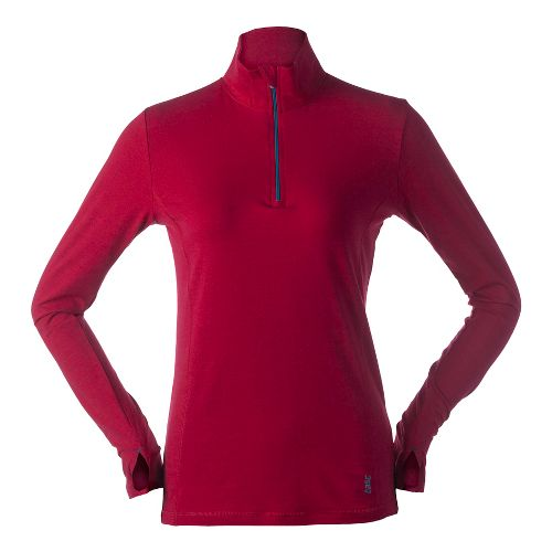 Womens Tasc Performance Sideline Long Sleeve 1/2 Zip Technical Tops - Cherry Pie M