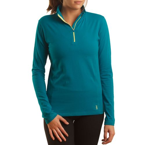 Womens Tasc Performance Sideline Long Sleeve 1/2 Zip Technical Tops - Peacock XS