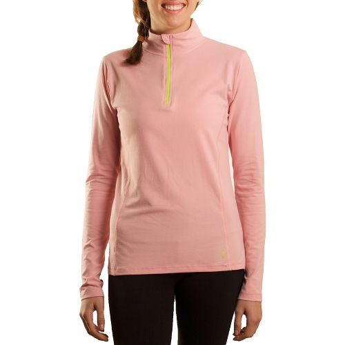 Womens Tasc Performance Sideline Long Sleeve 1/2 Zip Technical Tops - Petal Pink/Sprout L