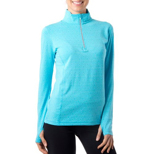 Womens Tasc Performance Sideline Long Sleeve 1/2 Zip Technical Tops - Surf's Up/Ice Blue Hex ...