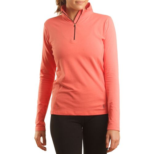 Womens Tasc Performance Sideline Long Sleeve 1/2 Zip Technical Tops - Shrimp M