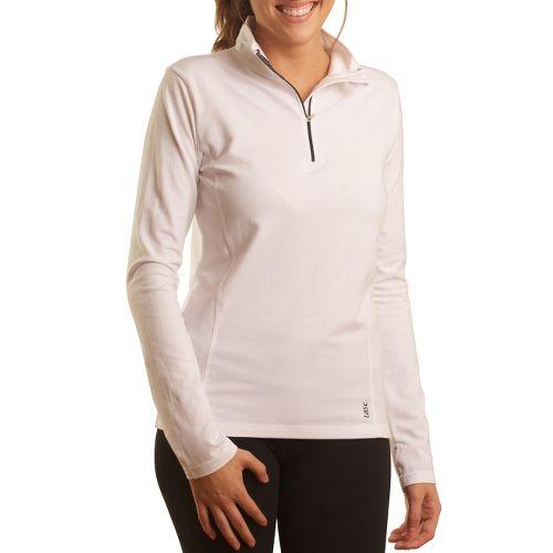 Womens Tasc Performance Sideline Long Sleeve 1/2 Zip Technical Tops - White/True Navy S