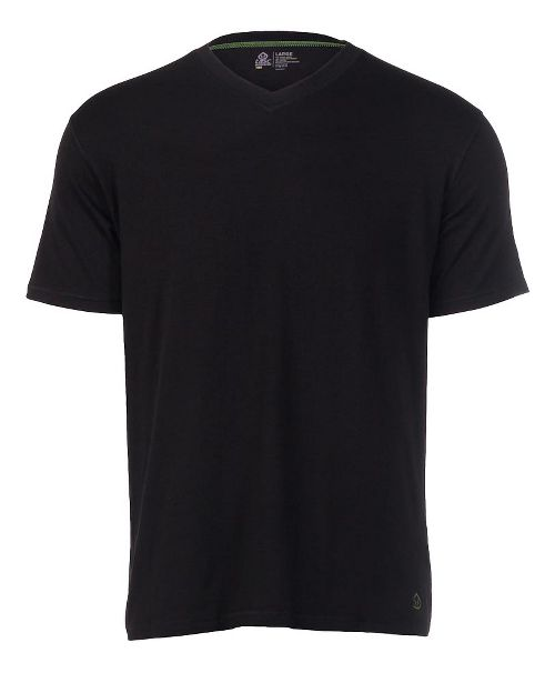 Mens Tasc Performance V-Neck Undershirt Short Sleeve Technical Tops - Black L