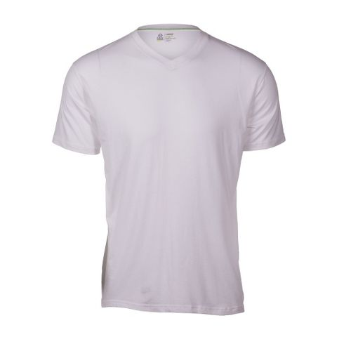 Mens Tasc Performance V-Neck Undershirt Short Sleeve Technical Tops - White XL