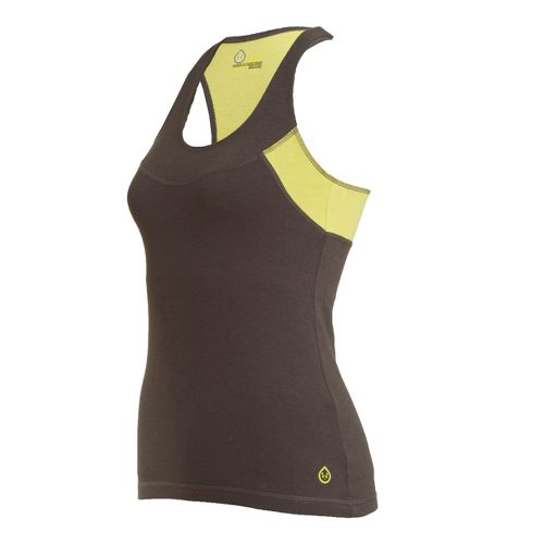 Womens Tasc Performance Cape Elizabeth Racer Tanks Technical Tops - Gunmetal/Daiquiri S