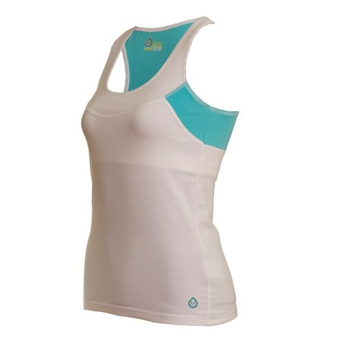 Womens Tasc Performance Cape Elizabeth Racer Tanks Technical Tops - White/Caribbean Sea L