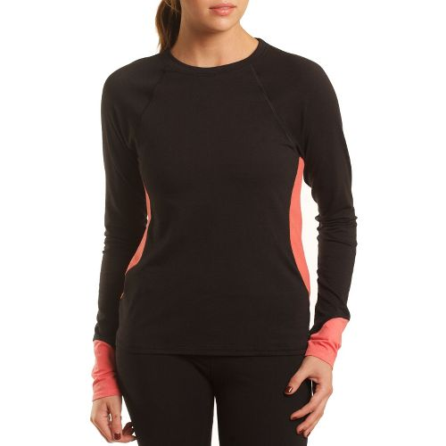 Womens Tasc Performance 5K Long Sleeve No Zip Technical Tops - Black/Shrimp M