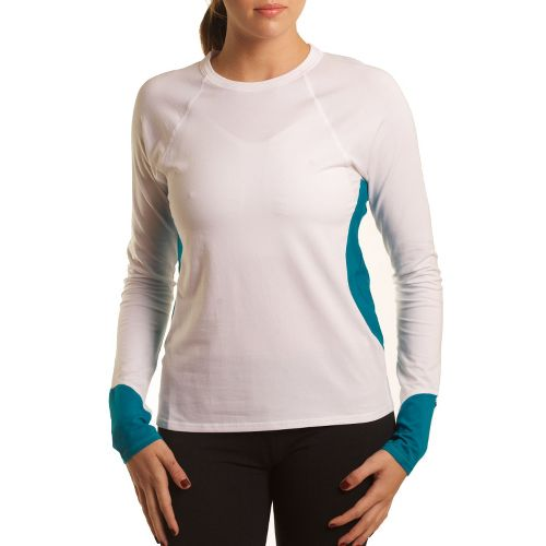 Womens Tasc Performance 5K Long Sleeve No Zip Technical Tops - White/Peacock S