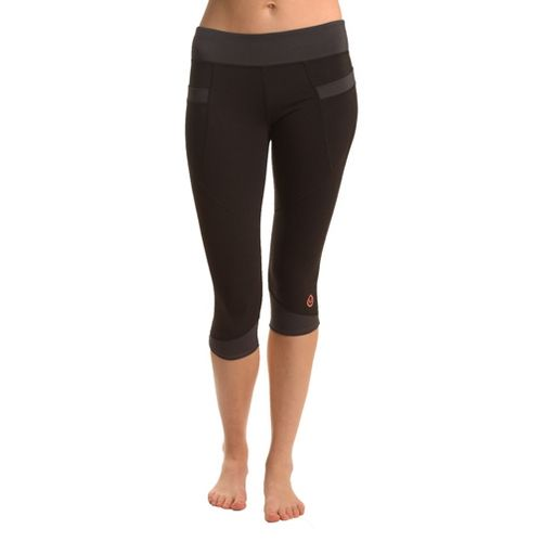 Womens Tasc Performance Stretch Crop Capri Tights - Black/Gunmetal XS