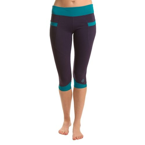 Womens Tasc Performance Stretch Crop Capri Tights - True Navy/Peacock S
