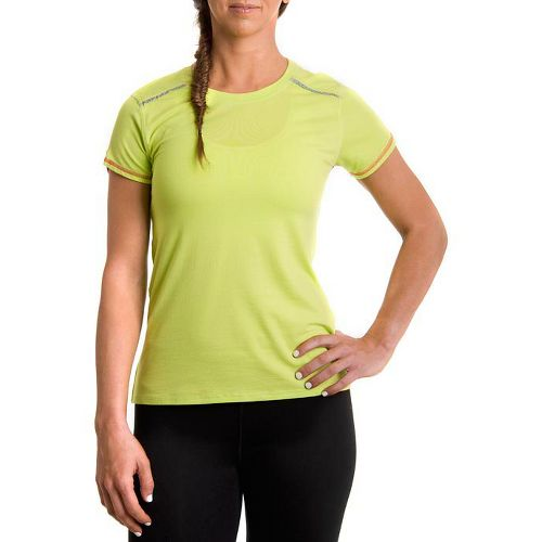 Womens Tasc Performance Pretty Petal Crew Short Sleeve Technical Tops - Sprout/Watermelon L