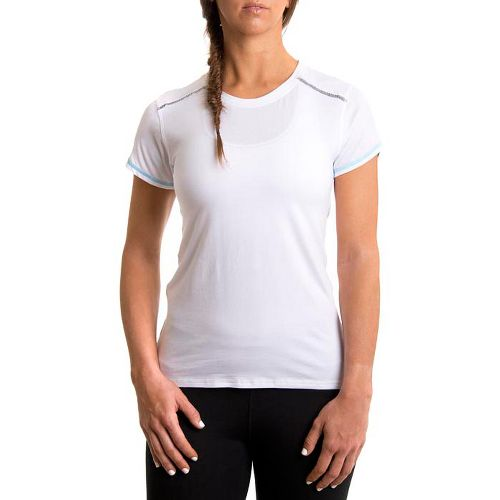 Womens Tasc Performance Pretty Petal Crew Short Sleeve Technical Tops - White/Surf's Up M