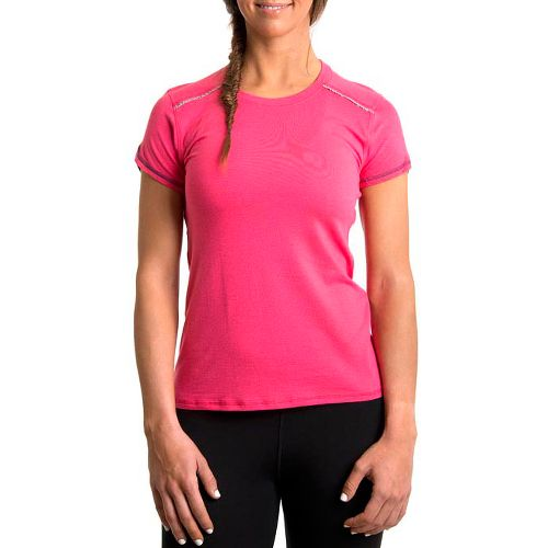 Womens Tasc Performance Pretty Petal Crew Short Sleeve Technical Tops - Watermelon/True Navy L