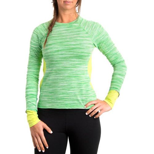 Womens Tasc Performance 5K Long Sleeve No Zip Technical Tops - Sprout Streak/Mojito XS