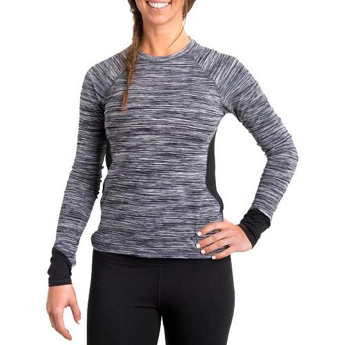 Womens Tasc Performance 5K Long Sleeve No Zip Technical Tops - Storm Streak/Black M