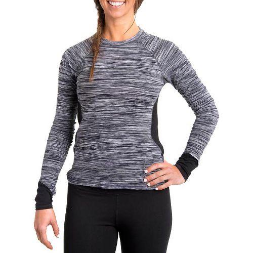 Womens Tasc Performance 5K Long Sleeve No Zip Technical Tops - Storm Streak/Black XS