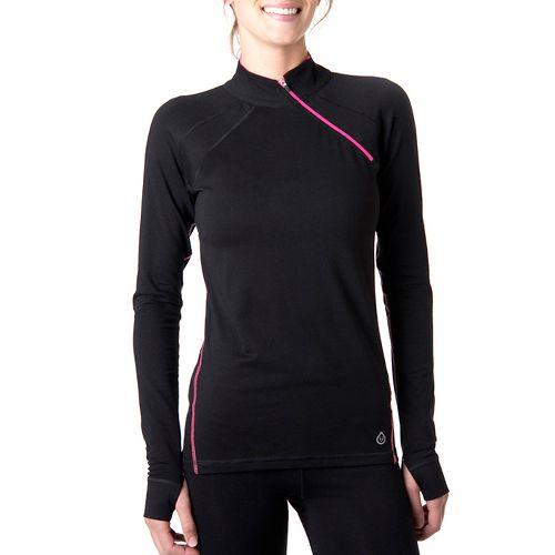 Womens Tasc Performance Cruising Long Sleeve 1/2 Zip Technical Tops - Black/Fruit Punch S