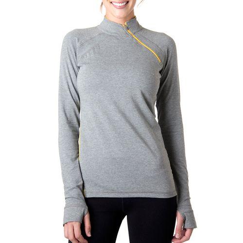 Womens Tasc Performance Cruising Long Sleeve 1/2 Zip Technical Tops - Heather Grey/Honey Lemon ...