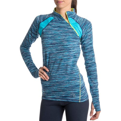 Womens Tasc Performance Cruising Long Sleeve 1/2 Zip Technical Tops - Surf's Up Streak/Sprout M ...