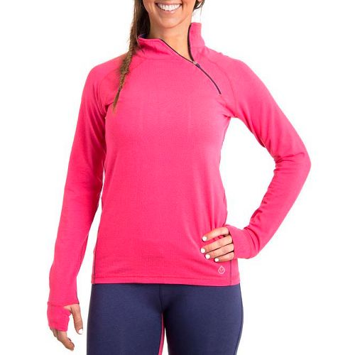 Womens Tasc Performance Cruising Long Sleeve 1/2 Zip Technical Tops - Watermelon/True Navy L