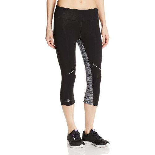 Womens Tasc Performance Surprise Stripe 1/2-Capri Tights - Black/Storm Streak L