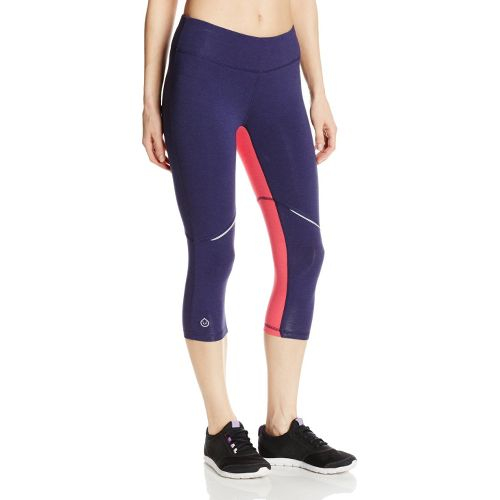 Womens Tasc Performance Surprise Stripe 1/2-Capri Tights - True Navy/Watermelon M