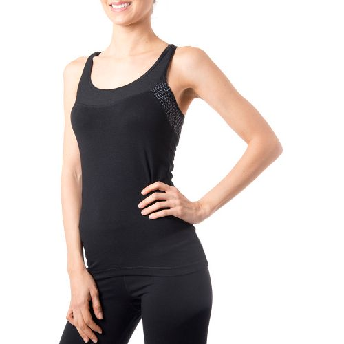 Womens Tasc Performance Audubon Racer Singlets Technical Tops - Black/Storm Hex Print L