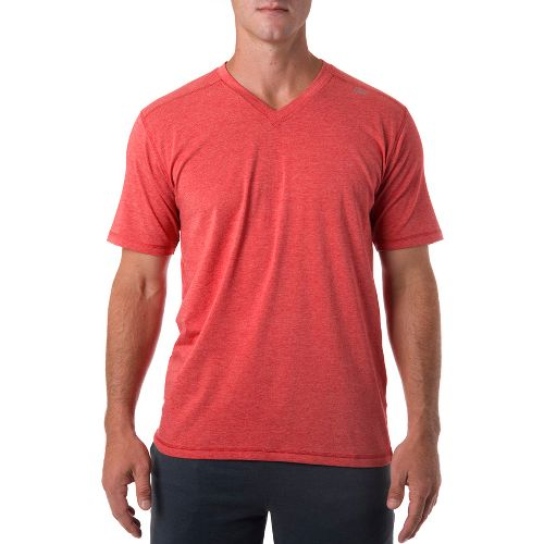 Mens Tasc Performance Vital V-Neck Short Sleeve Technical Tops - Red Heather M