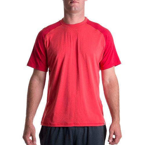 Mens Tasc Performance Coastal Short Sleeve Technical Tops - Red Rocks/Dark Red Rocks S
