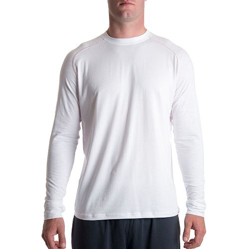 Mens Tasc Performance Coastal Long Sleeve No Zip Technical Tops - White/Red Rocks S