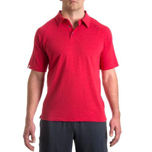 Mens Tasc Performance Trace Polo Short Sleeve Technical Tops - Dark Red Rocks L