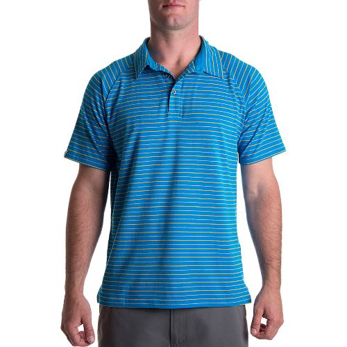 Mens Tasc Performance Oppidan Polo Short Sleeve Technical Tops - Tidal Stripe M