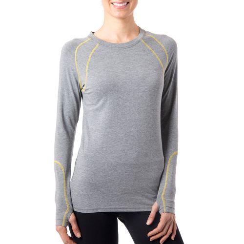 Womens Tasc Performance Aspire T Long Sleeve No Zip Technical Tops - Heather Grey/Honey Lemon ...