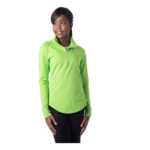 Womens Tasc Performance Northstar Fleece Long Sleeve 1/2 Zip Technical Tops - Green Flash S ...