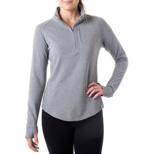 Womens Tasc Performance Northstar Fleece Long Sleeve 1/2 Zip Technical Tops - Heather Grey XS ...