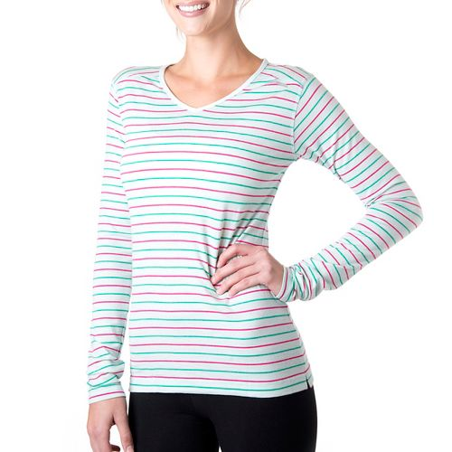 Womens Tasc Performance Tofino Merino Long Sleeve No Zip Technical Tops - Ice Blue Stripe ...