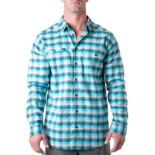 Mens Tasc Performance Traverse Plaid Shirt Long Sleeve Non-Technical Tops - Marina Plaid M