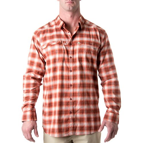 Mens Tasc Performance Traverse Plaid Shirt Long Sleeve Non-Technical Tops - Red Ember Plaid M ...