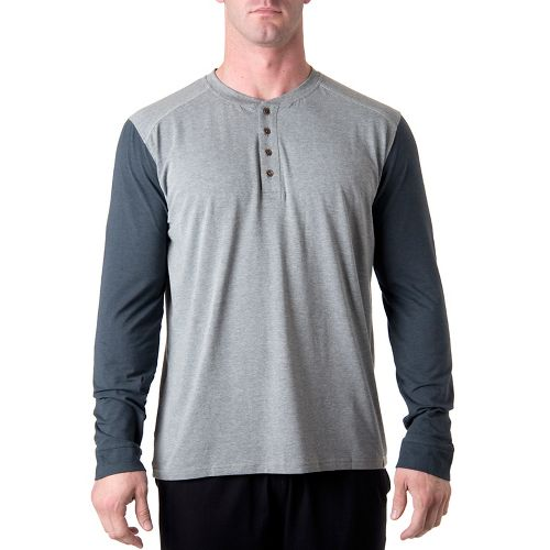 Mens Tasc Performance Ridge Henley Long Sleeve No Zip Technical Tops - Heather Grey/Gunmetal S ...