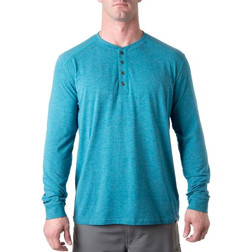 Mens Tasc Performance Ridge Henley Long Sleeve No Zip Technical Tops - Marina Heather M ...