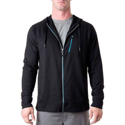 Mens Tasc Performance Elevate Fleece Full Zip Hood Warm-Up Hooded Jackets - Black XL
