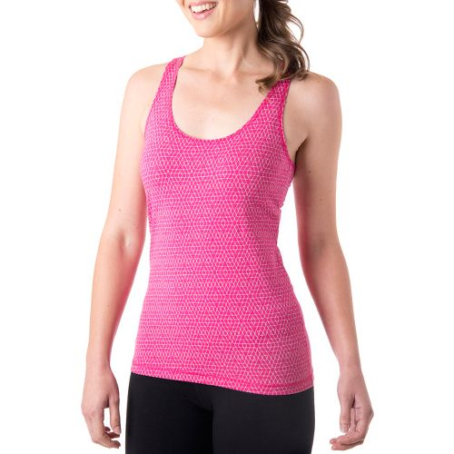 Womens Tasc Performance Hex Racer Tanks Technical Tops - Fruit Punch/Ice Blue XS