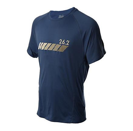 Mens 26.2 Short Sleeve Chest Stripe Running Performance Tee Technical Tops