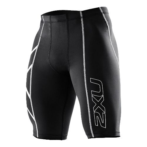 Mens 2XU Compression Fitted Shorts - White/White M