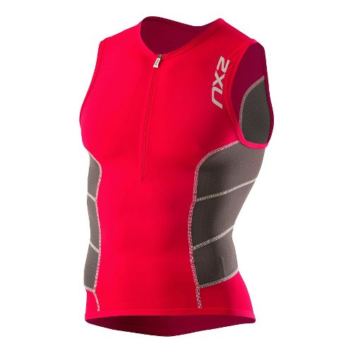 Mens 2XU Comp Tri Singlet Technical Tops - Venere Red/Charcoal L