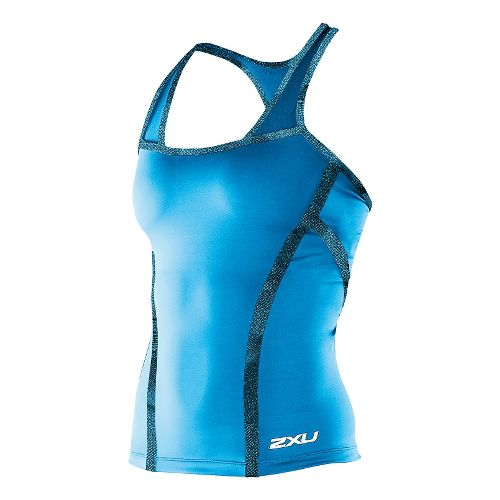 Womens 2XU Femme Tri Singlet Technical Tops - Bermuda Blue/Blue Fondale S