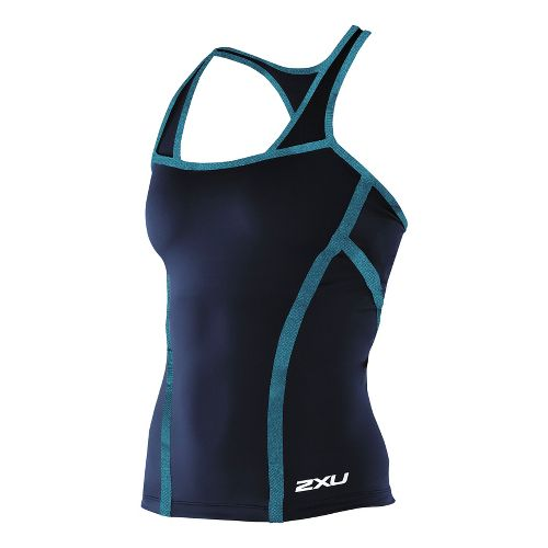 Womens 2XU Femme Tri Singlet Technical Tops - Midnight Blue/Teal S