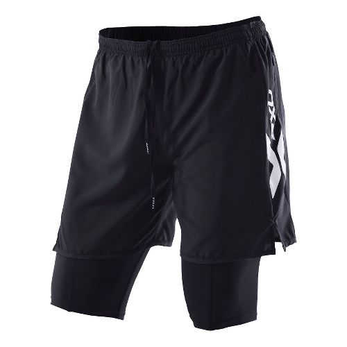 Mens 2XU Compression X Run Short 2-in-1 - Black/Black M