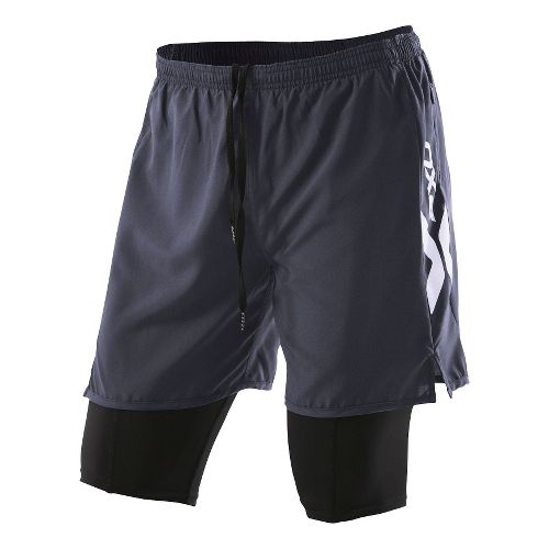 Mens 2XU Compression X Run Short 2-in-1 - Charcoal/Charcoal M